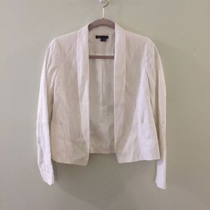 VINCE white Rustic Linen Cropped blazer